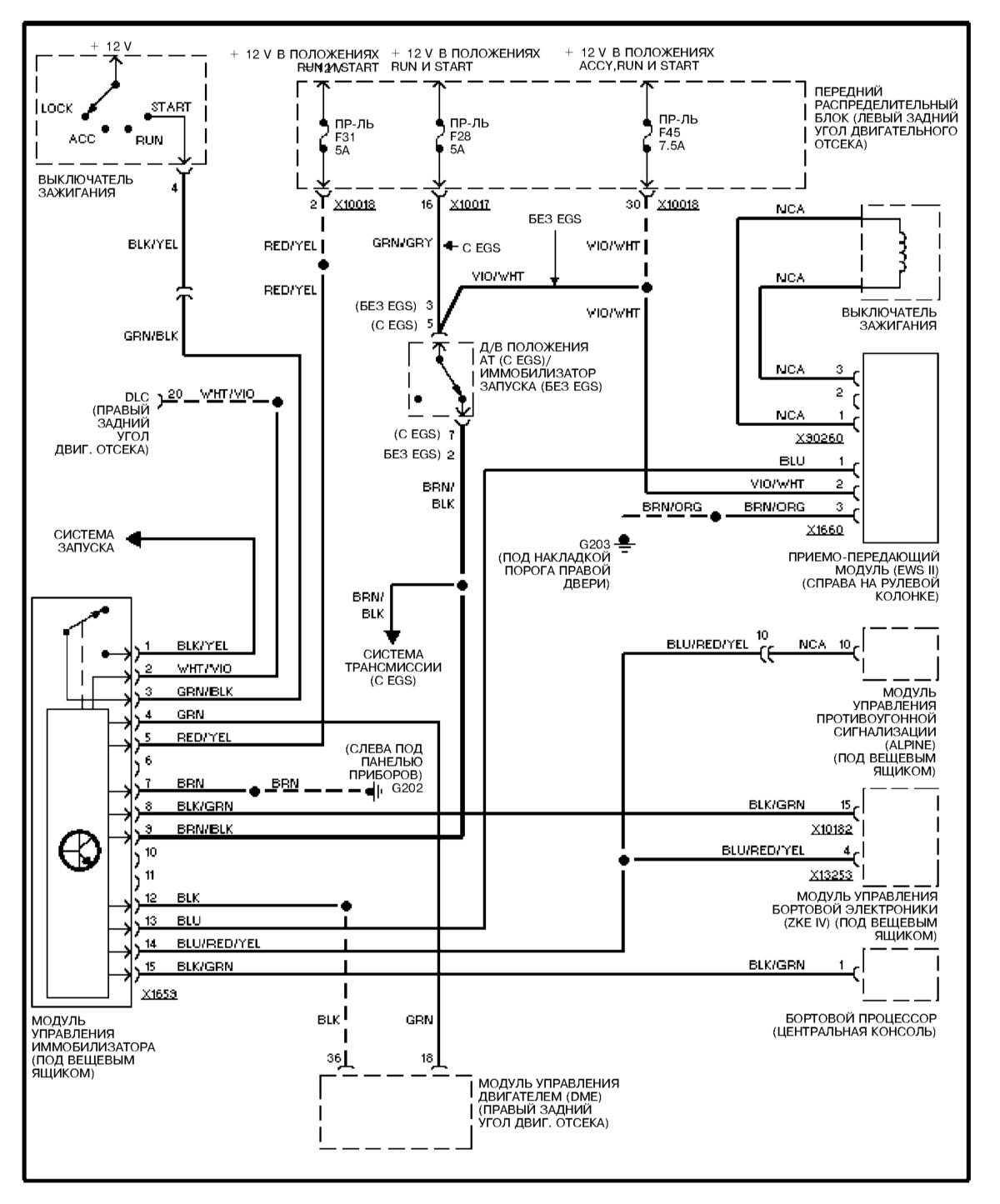электрическая схема на бмв е 39 отопления