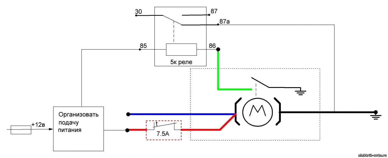 Схема подключения реле с мотором