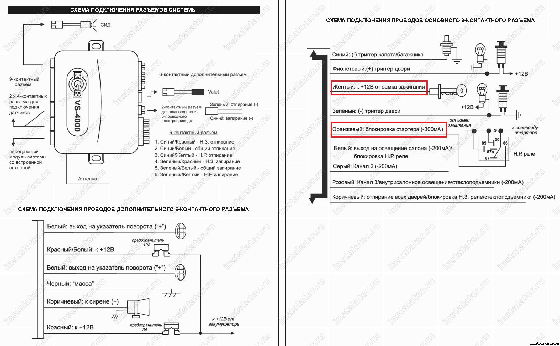 Схема подключения сигнализации фараон v21