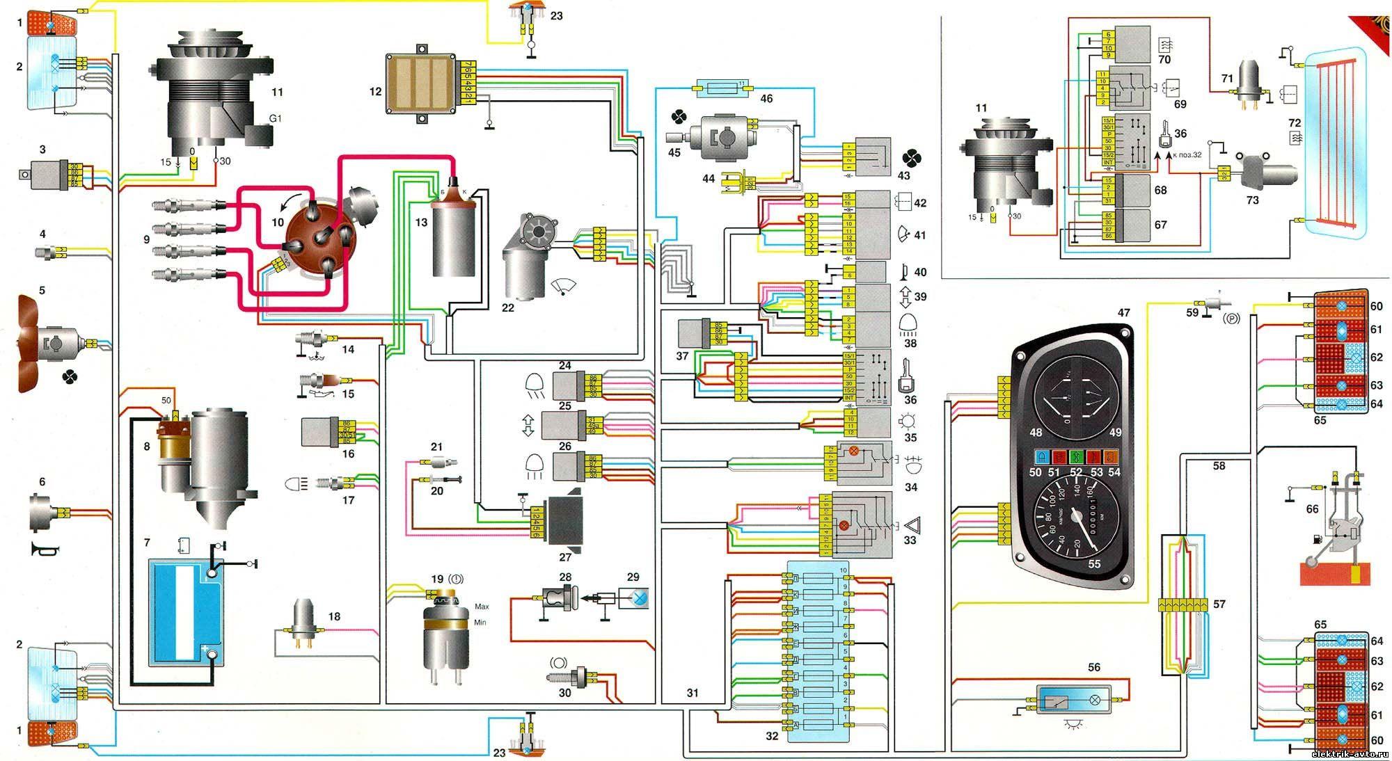 принципиальная схема замка зажигания газ 3110