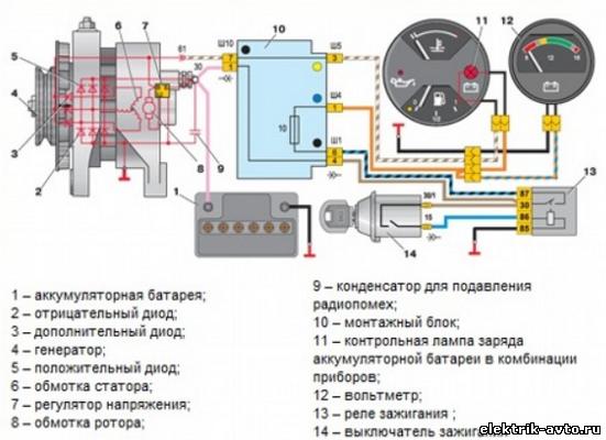 генератора авто в схема аккумулятора зарядки от